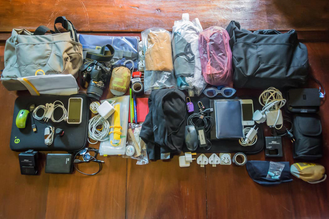 Packing list for travelling light.