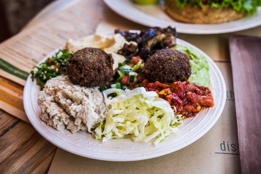 An organic vegetarian falafel in a restaurant of Ubud, Bali.