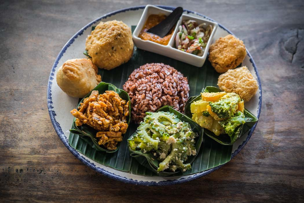 An organic vegetarian nasi campur in a restaurant of Ubud, Bali.