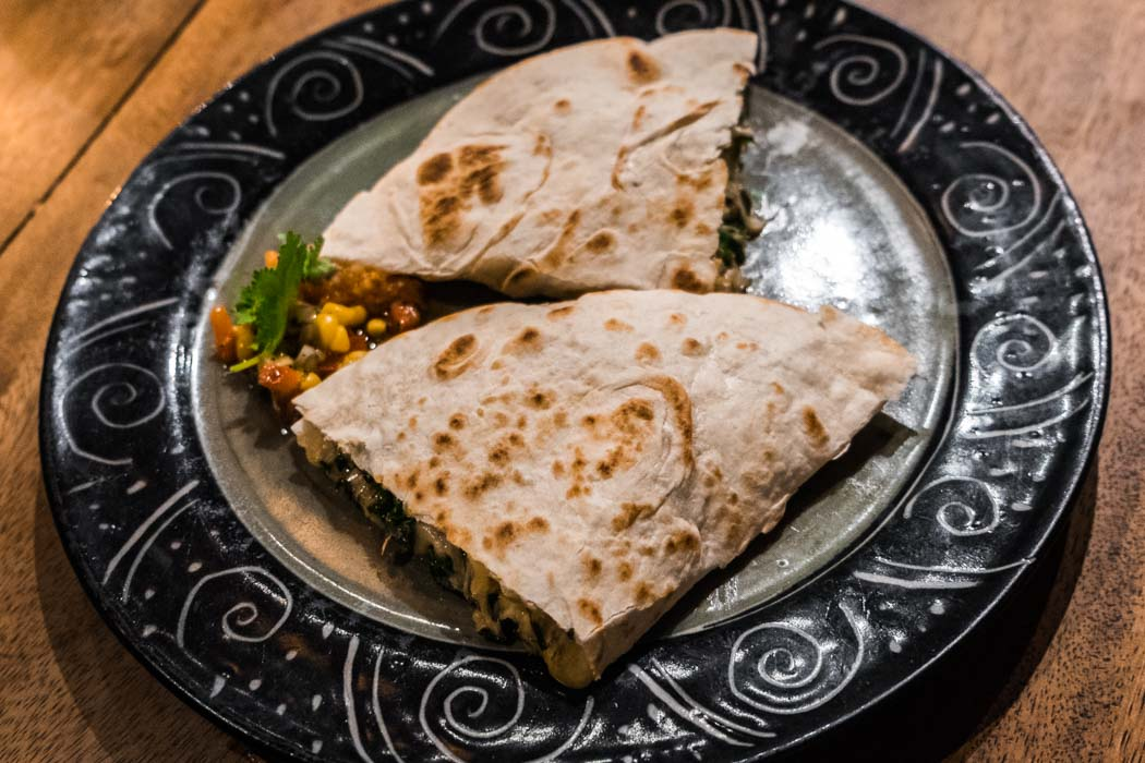 An organic vegetarian quesadilla in a restaurant of Ubud, Bali.