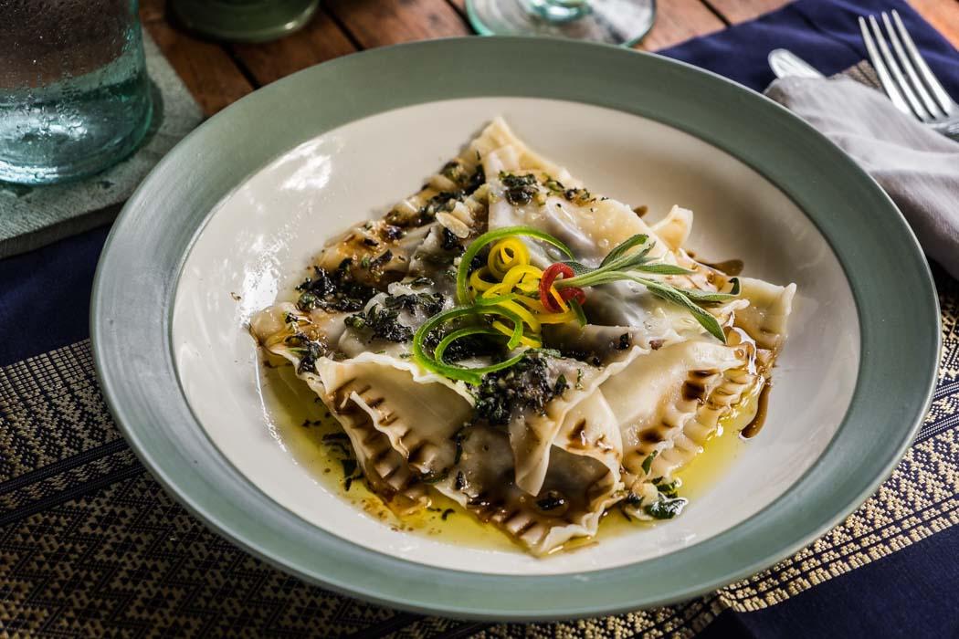 An organic vegetarian pasta in a restaurant of Ubud, Bali.