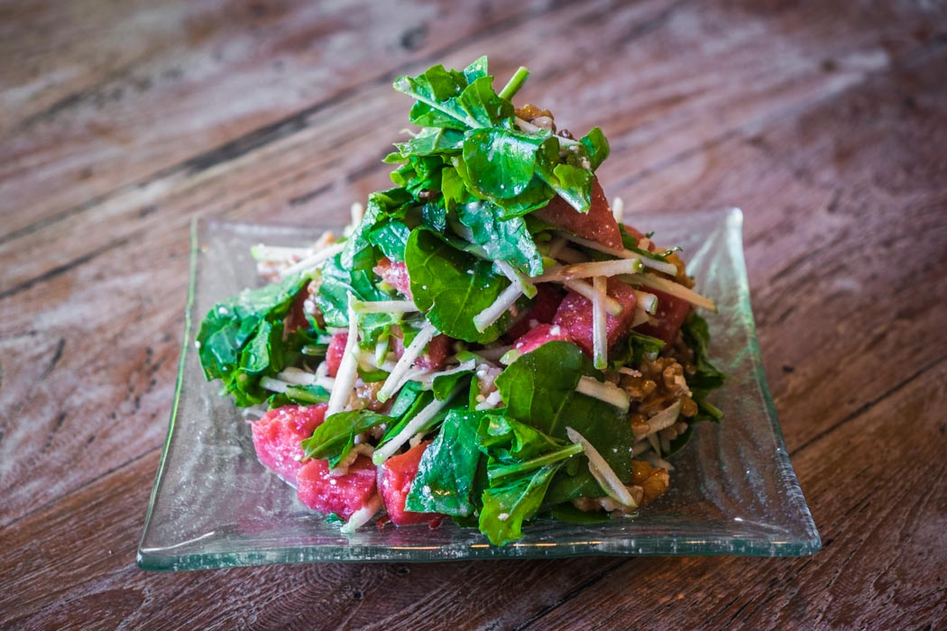 An organic vegetarian raw salad in a restaurant of Ubud, Bali.