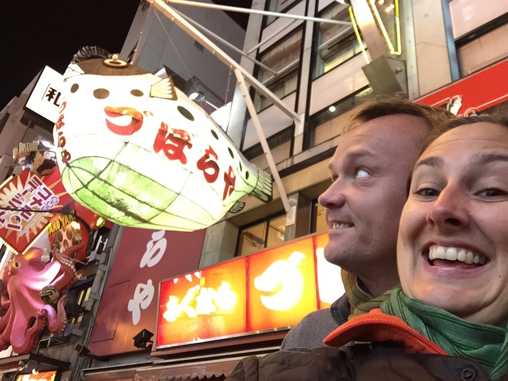 With Husband in Tow in Osaka, Japan.