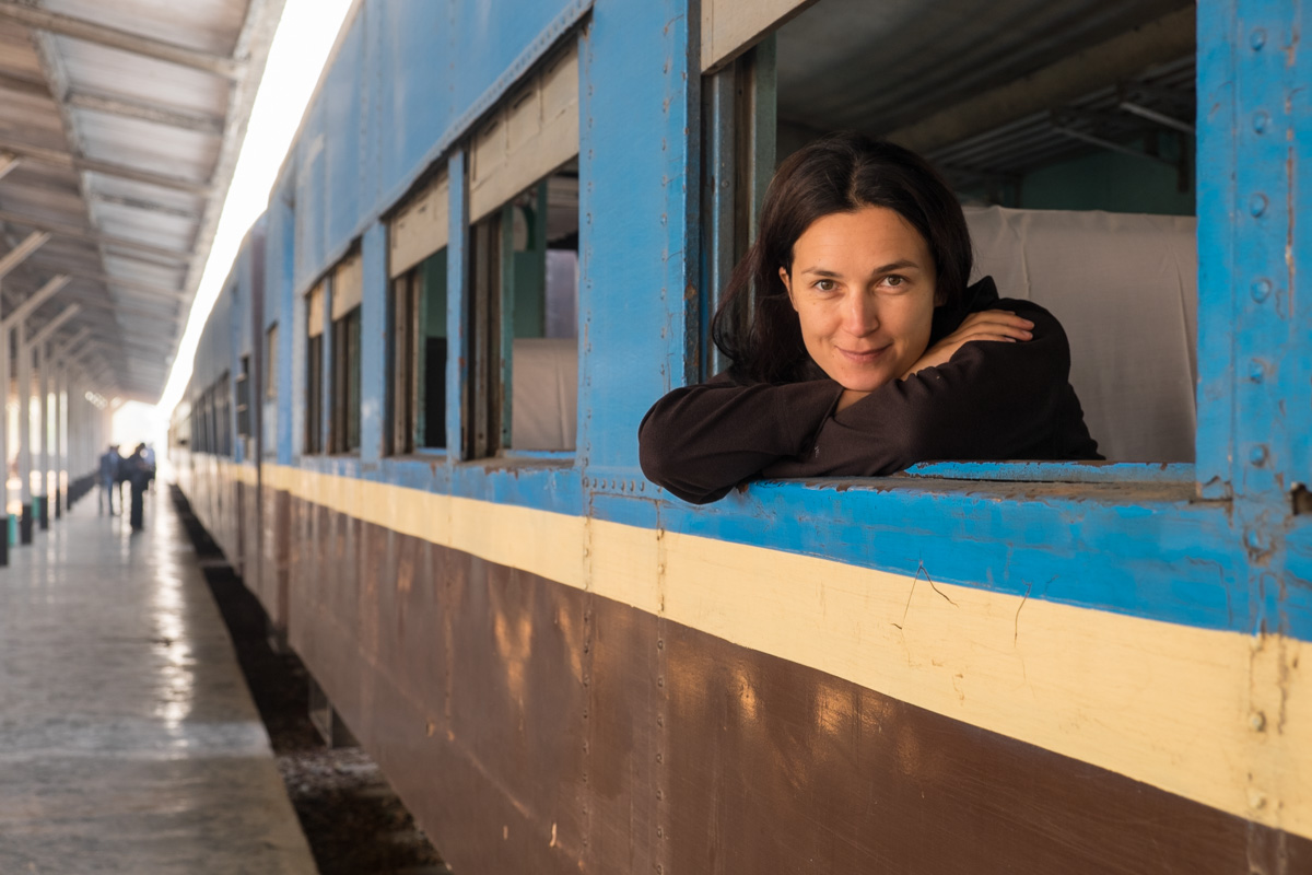Ivana ready to set off on a train adventure in Myanmar.