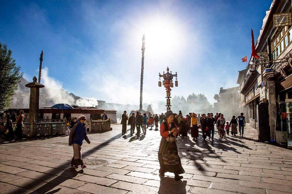 Crowds of devoted Tibetan pilgrims around Jokhang Temple in Lhasa.